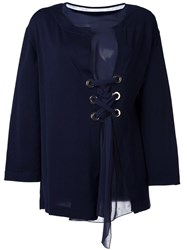 Alberta Ferretti Layered Front Laced Blouse Blue