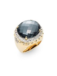 John Hardy Bamboo Hematite White Sapphire And 18K Yellow Gold Dome Ring Gold Black