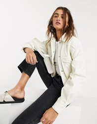 Bershka Faux Leather Shacket With Removable Tie Waist In Ecru Cream