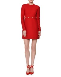 Valentino Long Sleeve Cutout Waist W Bows Dress Red