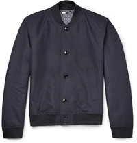 Hardy Amies Cotton Gabardine Bomber Jacket Blue