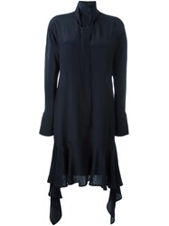 Marni Neck Tie Draped Dress Blue