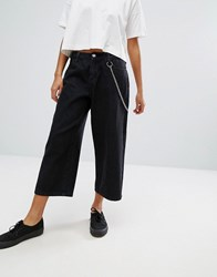 Daisy Street Wide Leg Skater Jeans With Chain Black