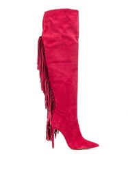 Just Cavalli Fringe Boots Red