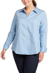 Foxcroft Plus Size Lauren Non Iron Stripe Sateen Shirt Blue Sky