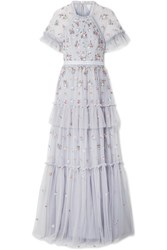 Needle And Thread Lustre Tiered Embellished Tulle Gown Light Blue Usd