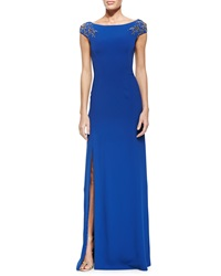 Jenny Packham Boat Neck Gown W Beaded Sleeves