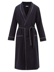 Desmond And Dempsey Piped Brushed Cotton Twill Robe Navy