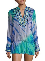 Hale Bob Tie Dye Cover Up Tunic Teal