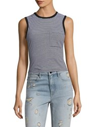 Alexander Wang Striped Open Back Cotton Tank Top Black And White