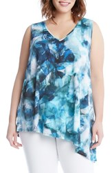 Karen Kane Plus Size Women's Sea Glass Asymmetrical Tank Print