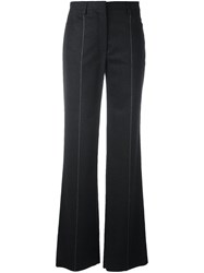 Salvatore Ferragamo Pinstripe Boot Cut Trousers Grey