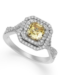 Macy's Yellow And White Diamond Engagement Ring In 14K White Gold 1 1 2 Ct. T.W.