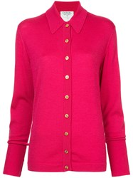 Chanel Vintage Classic Collar Buttoned Cardigan Pink And Purple