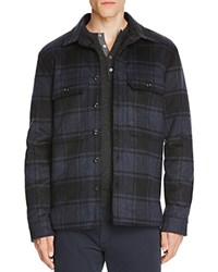 Vince Plaid Military Shirt Jacket Black Coastal