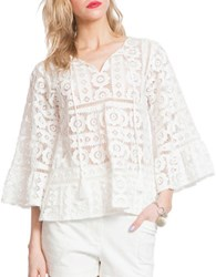 Plenty By Tracy Reese Lace Patterned Blouse Soft White