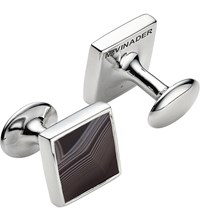 Monica Vinader Stone Square Sterling Silver And Black Line Onyx Cufflinks