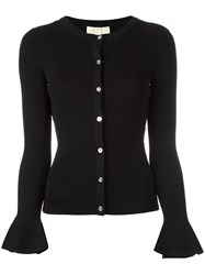 Michael Michael Kors Bell Sleeve Ribbed Cardigan Black