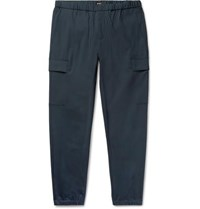 Theory Navy Slim Fit Tapered Stretch Wool Blend Trousers Navy