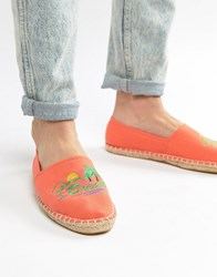 Asos Design Espadrilles In Orange With Embroidery