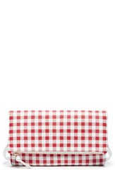 Sole Society Faux Leather Foldover Clutch Red Red White