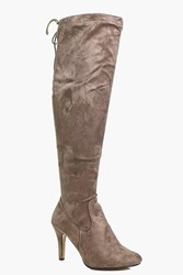 Boohoo Harriet Stiletto Over The Knee Boot Taupe