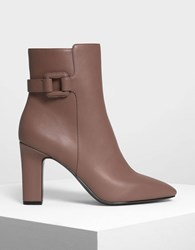 Charles And Keith Wrapped Buckle Detail Calf Boots Mauve