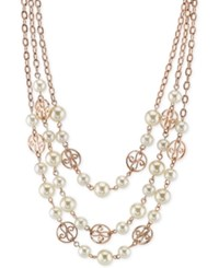 2028 Rose Gold Tone Imitation Pearl Triple Row Necklace