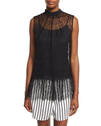 Mcq By Alexander Mcqueen Sleeveless Lace Ruffle Blouse Black