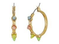 Rebecca Minkoff Rainbow Spear Hoop Earrings Antique Gold Rainbow Opal Earring