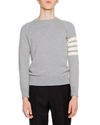 Thom Browne Classic Crewneck Cashmere Sweater Light Gray