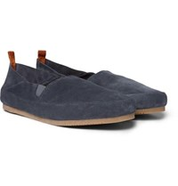 Mulo Collapsible Heel Suede Espadrilles Dark Gray