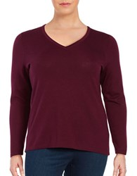 Lord And Taylor Plus Solid V Neck Tee Raspberry Wine