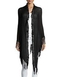 Minnie Rose Long Fringe Trim Cotton Wrap Black