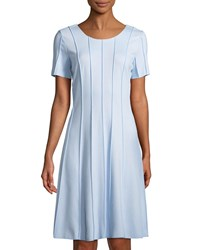 Grayse Merrow Pintucked Fit And Flare Dress Blue