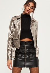 Missguided Tall Exclusive Silver Metallic Faux Leather Biker Jacket Pewter