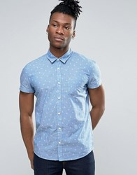 Pepe Jeans Printed Short Sleeve Shirt Blue