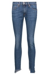 Rag And Bone Low Rise Frayed Skinny Jeans Mid Denim