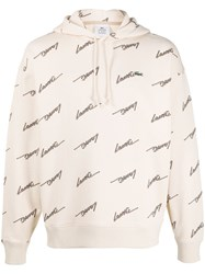 Lacoste Live Logo Print Hoodie Neutrals