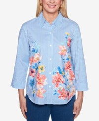 Alfred Dunner Sun City 3 4 Sleeve Mixed Print Shirt Multi