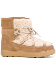 Moncler Fanny Ski Boots Suede Wool Lamb Fur Rubber Nude Neutrals