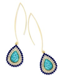 Thalia Sodi Gold Tone Blue Stone And Crystal Wire Drop Earrings Only At Macy's