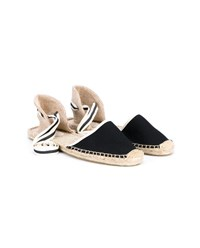 Soludos Striped Espadrille Sandals Black White Linen