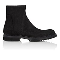 Rick Owens Men's Oiled Suede Creeper Slim Ankle Boots Blue