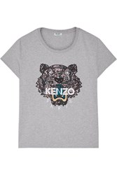 Kenzo Icon Embroidered Cotton Jersey T Shirt Light Gray