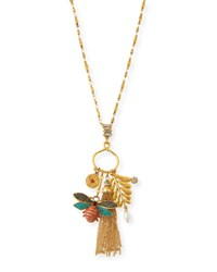 Sequin Crystal Bug Charm Necklace Gold