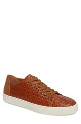 Donald J Pliner Alto Woven Low Top Sneaker Saddle Leather