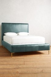 Anthropologie Premium Leather Edlyn Bed Storm