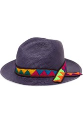 Sensi Studio Embroidered Toquilla Straw Panama Hat Navy
