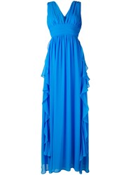 Msgm Frill Plunge Gown Blue